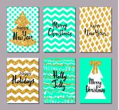 Christmas greeting card set. Gold, aquamarine, white colors. Hand drawn design elements. Handwritten modern lettering Royalty Free Stock Photos