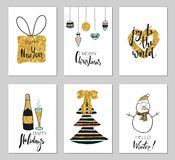 Christmas greeting card set. Hand drawn illustrations with gold glitter effect. Handwritten modern lettering. Gift tags with royalty free illustration