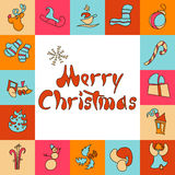 Christmas greeting card. A set of images for the and New Year 2017. Eve. Xmas. Vector illustration. Holiday objects collection. Christmas theme with toy, train Stock Images
