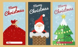 Christmas Greeting Card Set. Merry Christmas Text Greeting Card Collections with Christmas Elements. Vector illustration stock image