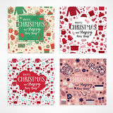 Christmas greeting card set vector. Set of Christmas and Happy New Year greeting cards, invitation with cute pattern in vector. Red and green gifts, mittens Royalty Free Stock Images
