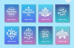 Christmas greeting card set with white emblem consisting sign Happy New Year, Merry Christmas. Isolated on snow holiday background gradient style. Vector Stock Images