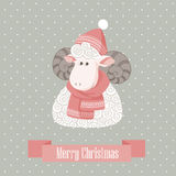 Christmas greeting card. With sheep Stock Photo
