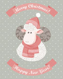 Christmas greeting card. With sheep Stock Images