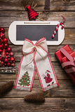 Christmas greeting card with a sign for an text in red. Stock Photography