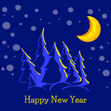 Christmas greeting card with silhouettes of  pine trees, bright moon and snow dots on a blue background. Stock Images
