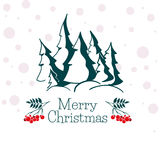Christmas greeting card with silhouettes snowy fir trees. graphic forest. Christmas greeting card with silhouettes snowy fir trees Royalty Free Stock Photos