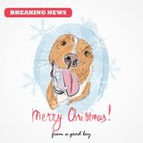 Christmas greeting card with sketch of dog`s muzzle on blue grunge background with snowflakes. Hand drawn  illustration. Merry Christmas text. Funny cartoon Stock Photo