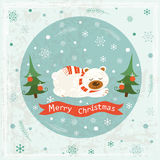 Christmas greeting card with sleeping bear Royalty Free Stock Photography