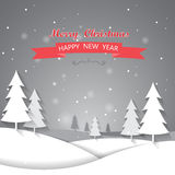 Christmas greeting card. Christmas with snow greeting card, background and backdrop, vector Stock Photography