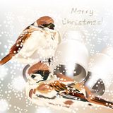 Christmas greeting card with snow and birds in watercolor style Stock Image