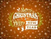 Christmas greeting card with snowfall effect Stock Image