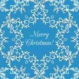 Christmas Greeting card with snowflake, blue Stock Photo