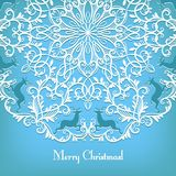 Christmas Greeting card with snowflake and deer Royalty Free Stock Image