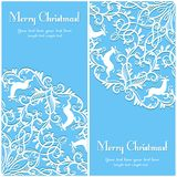 Christmas Greeting card with snowflake and deer Royalty Free Stock Photos