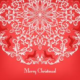 Christmas Greeting card with snowflake and deer Stock Photography