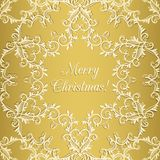 Christmas Greeting card with snowflake, gold Royalty Free Stock Images