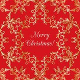 Christmas Greeting card with snowflake, red Royalty Free Stock Image