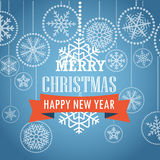 Christmas greeting card with snowflakes on background. Merry Christmas and Happy New Year Royalty Free Stock Photography