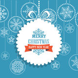 Christmas greeting card with snowflakes on background. Merry Christmas and Hapy New Year Stock Photo