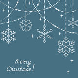 Christmas greeting card with snowflakes. And festive tinsel Stock Images