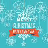 Christmas greeting card with snowflakes. Merry Christmas and Happy New Year Stock Image