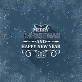 Christmas greeting card with snowflakes and ornate heading. Flat design. Royalty Free Stock Image