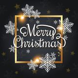 Christmas greeting card with snowflakes. Vector Christmas greeting card. White snowflakes and golden frame on a black background. Merry Christmas lettering Stock Image
