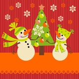 Christmas greeting card with a snowman Royalty Free Stock Photography