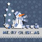 Christmas greeting card with a snowman Royalty Free Stock Images