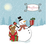Christmas greeting card with snowman Stock Photos