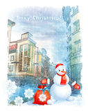 Christmas greeting card. With snowman stock illustration