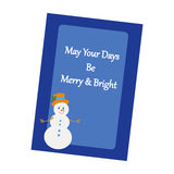 Christmas Greeting Card. Snowman on the blue background. Vector illustration Stock Image
