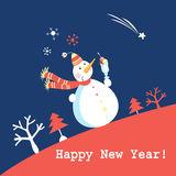 Christmas greeting card with snowman Royalty Free Stock Photos