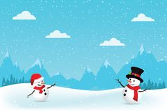 Christmas Greeting Card with snowman. Royalty Free Stock Image