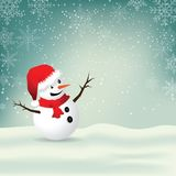 Christmas Greeting Card with snowman. Stock Images