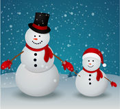 Christmas Greeting Card with snowman family Stock Photography
