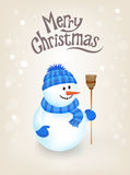 Christmas Greeting Card - Snowman Royalty Free Stock Photography
