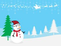 Christmas Greeting Card snowman with Santa Claus and reindeer stock illustration