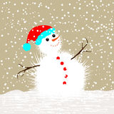 Christmas Greeting Card -Snowman Stock Photography