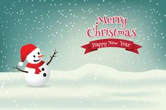 Christmas Greeting Card with snowman. Royalty Free Stock Photos