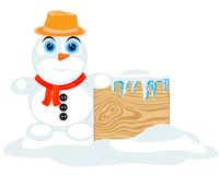 Christmas Greeting Card with snowman. Royalty Free Stock Photography