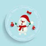 Christmas Greeting Card with Snowman. Vector illustration. Royalty Free Stock Photography