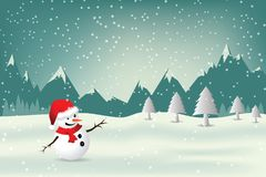Christmas Greeting Card with snowman. Stock Photography