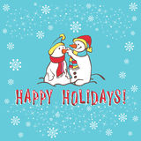 Christmas greeting card. Snowman Royalty Free Stock Photo