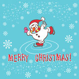 Christmas greeting card. Snowman. Stock Photos