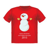 Christmas Greeting Card with snowman. Vector T-shirt graphics Stock Photo