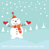 Christmas greeting card with snowman Stock Photo