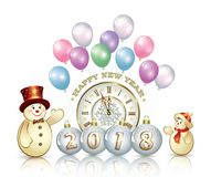 Happy New Year 2018 with snowmen. Christmas greeting card with snowmen, clock and balloons Royalty Free Stock Images