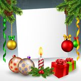 Christmas greeting card in snowy background Stock Images